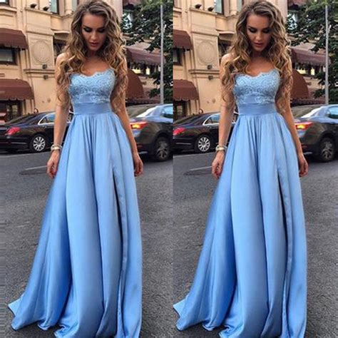 light blue graduation dress sales light blue lace strapless evening prom