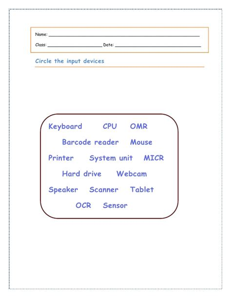 Input Output Worksheets by Input Devices Worksheet 6