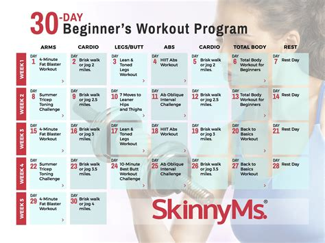 30 day home workout plan 30 day beginner s workout calendar skinny ms
