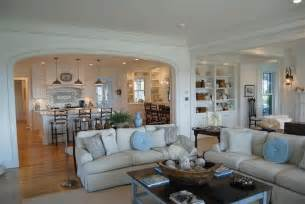 open floor plan kitchen family room kitchen semi open to family room coastal cottage design ideas the shape living