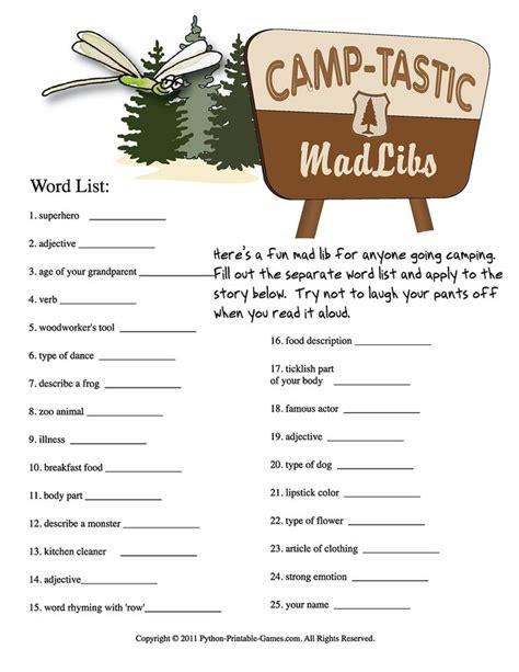 printable mad libs fun cing activities c tastic printable mad libs