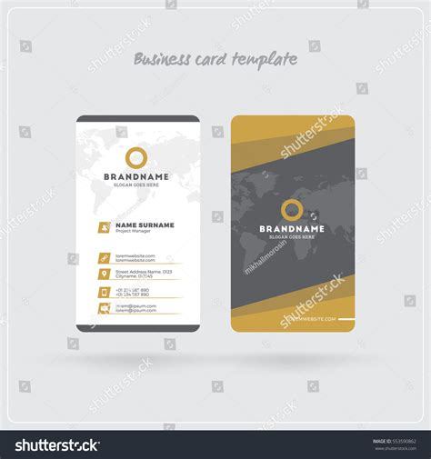 business card template for self printing golden gray vertical business card print เวกเตอร สต อก