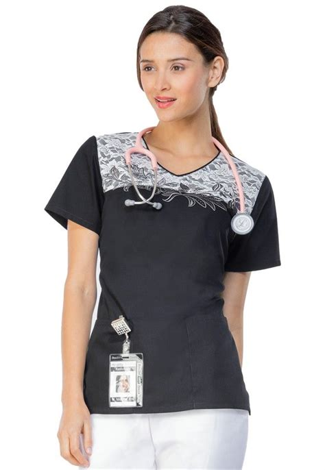 scrub tops runway lace embroidery v neck scrub top