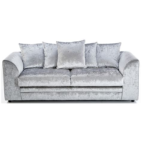 Silver Sofas by Michigan Crushed Velvet 3 Seater Sofa Silver 3 Seater