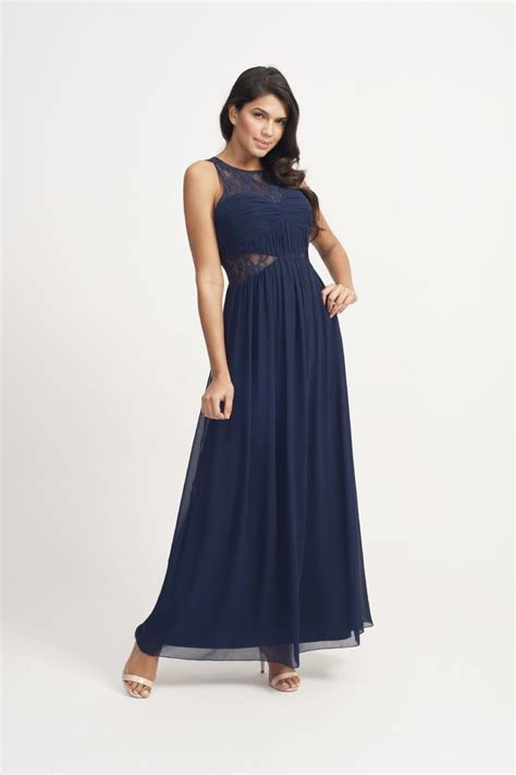 Maxi Lace Flower navy floral lace maxi dress from uk