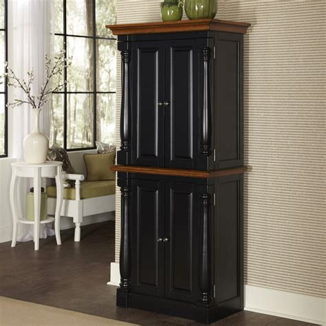 Kitchen Pantry Storage Cabinet by Home Styles Monarch Black Amp Oak Kitchen Pantry At Hayneedle