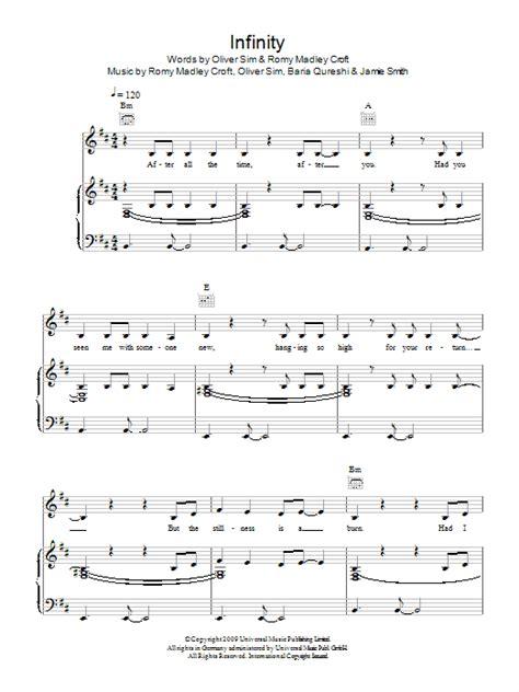 infinity lyrics xx the xx infinity sheet at stanton s sheet