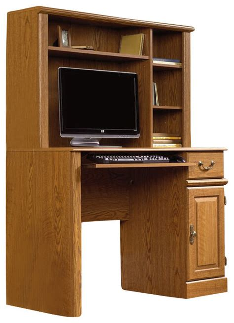 wood computer desks with hutch sauder orchard small wood computer desk with hutch in carolina oak finish transitional