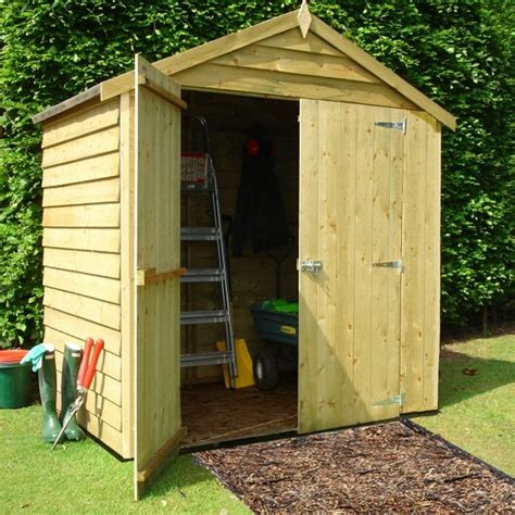 shire overlap apex pressure treated shed 6x4 garden