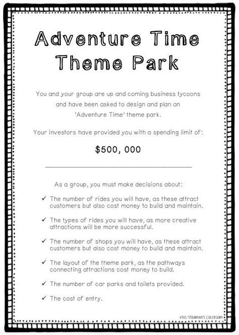 theme park maths adventure time theme park a group problem solving math