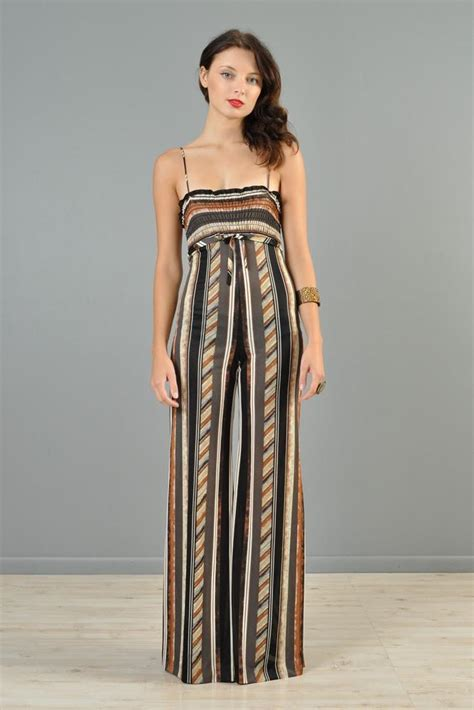 Palazzo Ethnic 1970s ethnic striped palazzo jumpsuit bustown modern