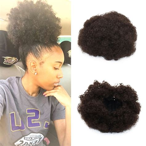 small afro puff ponytail amazon com miss rola synthetic hair bun extension donut