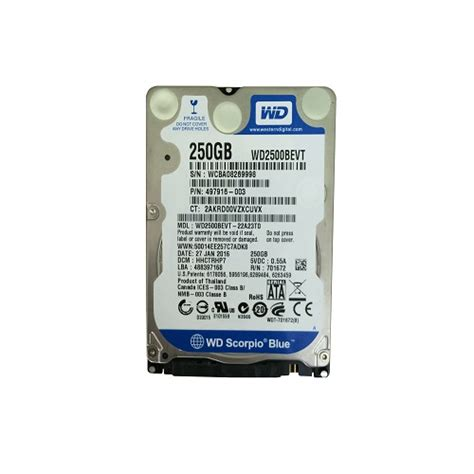Hdd Wd 250gb hdd western digital scorpio blue 250gb 5400rpm 8mb cache sata ii wd2500bevt