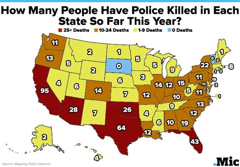 How Many Officers In The Us by One Map Shows How Many Killed In Each