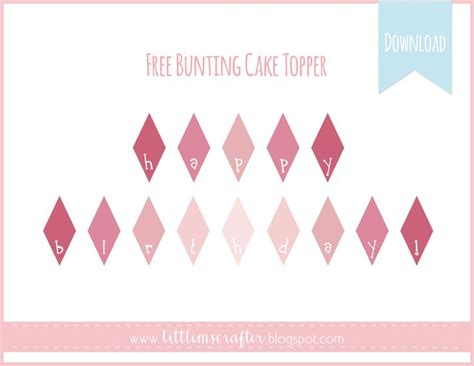 printable cake bunting flags free printable pink ombre bunting cake topper www