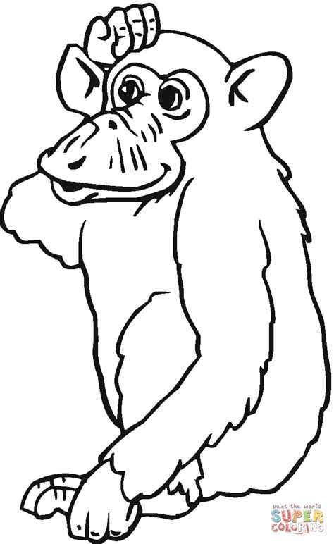 chimpanzee coloring page free printable coloring pages