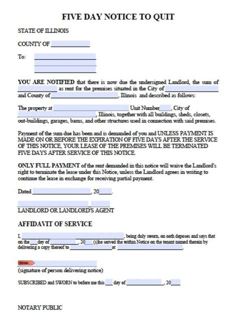 Eviction Notice Illinois Template Free Illinois 5 Day Notice To Quit Late Rent Eviction Notice Pdf Word Doc