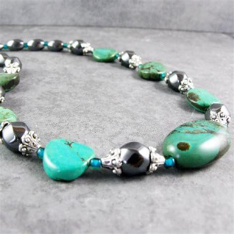 Cheap Handmade Jewellery Uk - turquoise necklace set with hematite handmade jewellery