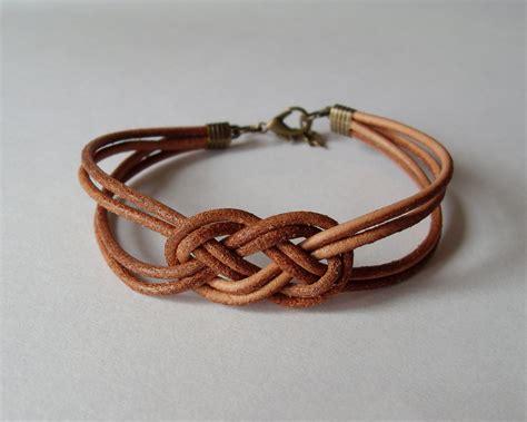 leather sailor knot bracelet brown leather