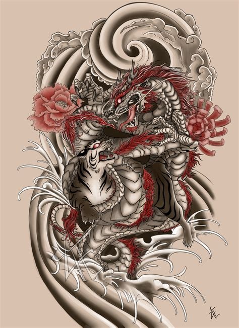 japanese tattoo commission by beautiful beasties on deviantart