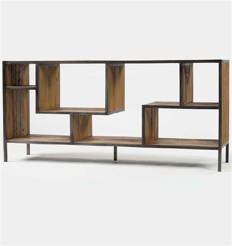 geometric wood and iron bookcase console rustic