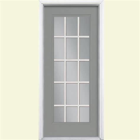 15 Light Exterior Door Masonite 32 In X 80 In 15 Lite Painted Steel Prehung Front Door With Brickmold 34955 The