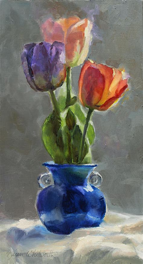 Flower Vase Glass Painting Cobalt And Tulips Still Life Painting Painting By Karen