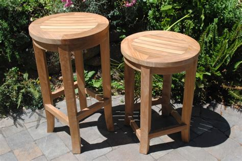 Fixed Height Bar Stools by Round Bar Height Teak Stool