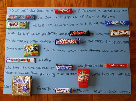birthday card made with candy bars just b cause