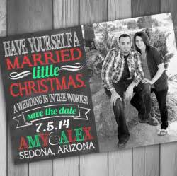christmas save the date photo card engaged by claceydesign