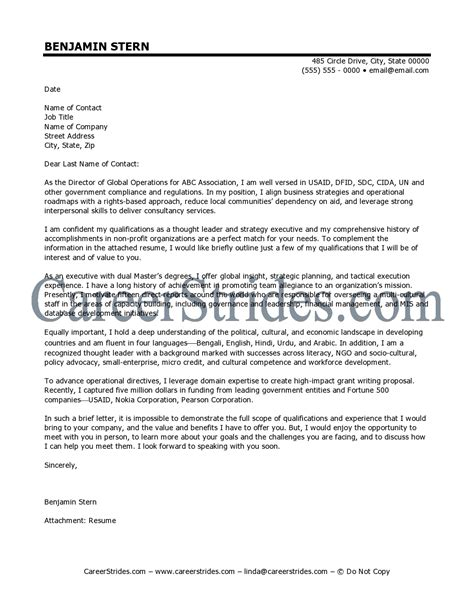 Executive Director Cover Letter Sample   RecentResumes.com