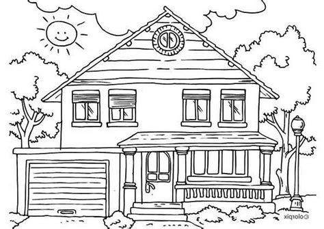 house front yard  houses coloring page netart