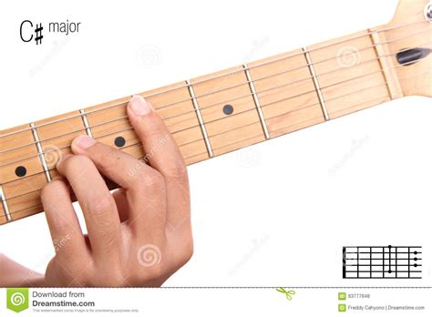 tutorial guitar up c sharp major guitar chord tutorial stock photo image