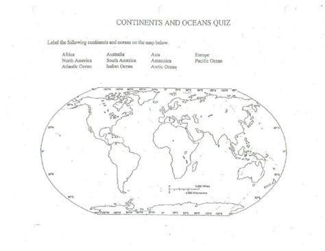 Printable Quiz Continents And Oceans | 5 best images of continents and oceans map printable