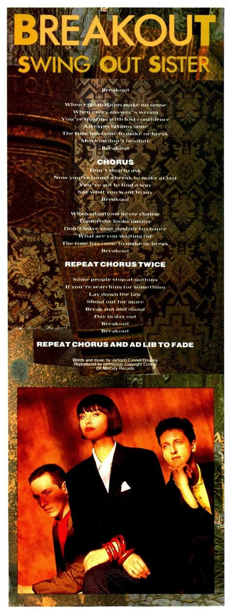 swing out sister breakout lyrics lansure s music paraphernalia swing out sister press