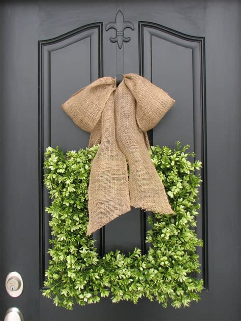 Square Wreaths For Front Door Wreaths Boxwood Wreath Square Wreath By Twoinspireyou