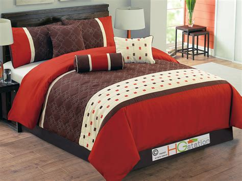 11pc quilted floral quatrefoil comforter curtain set red