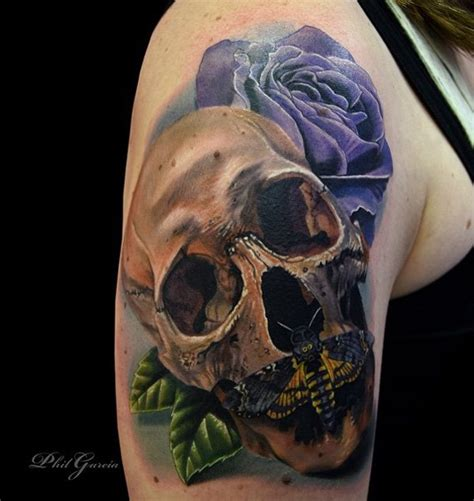 skull and black rose tattoo mechanical 3d skull on left half sleeve