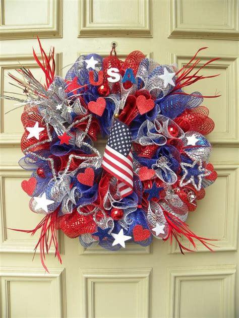 Patriotic Door Wreaths by Patriotic Deco Mesh Door Wreath Arrangement Usa Home