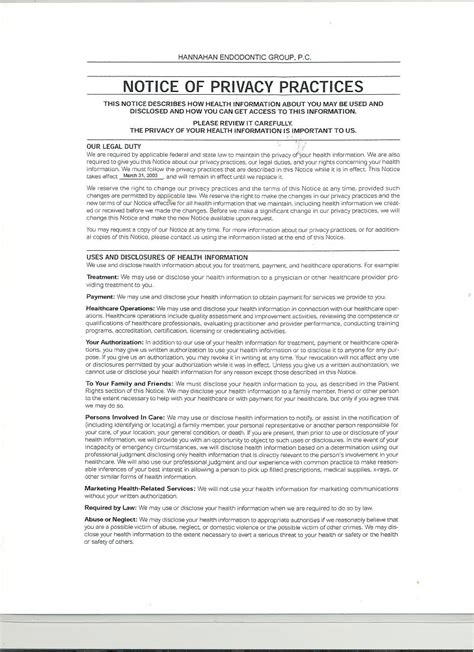 notice of privacy practices template notice of privacy practices mobile al hannahan endodontic