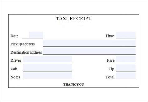 Taxi Receipt Template Excel by Cab