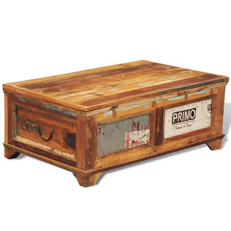 Wood Coffee Table With Storage Vidaxl Co Uk Reclaimed Wood Storage Box Coffee Table Vintage Antique Style