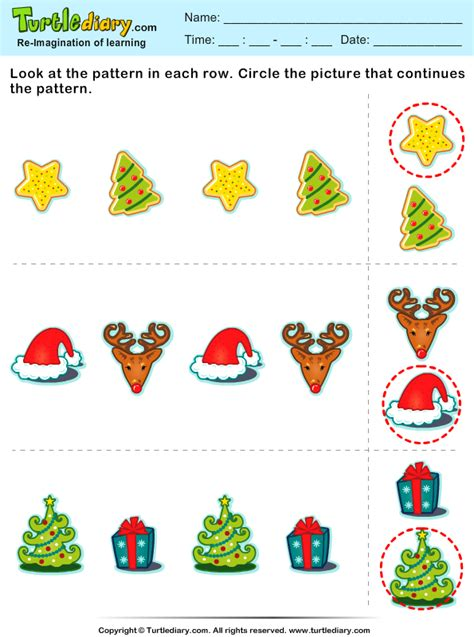 christmas pattern worksheets christmas find the next pattern worksheet turtle diary