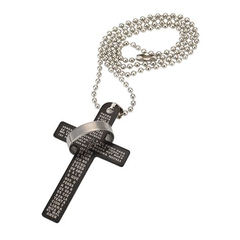 unisex s stainless steel cross pendant silver necklace