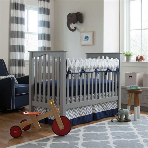 Baby Boy Bed Set Navy And Gray Elephants Crib Bedding Carousel Designs
