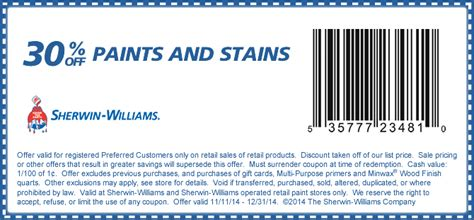 sherwin williams paint store coupons sherwin williams coupons 30 paint stains at
