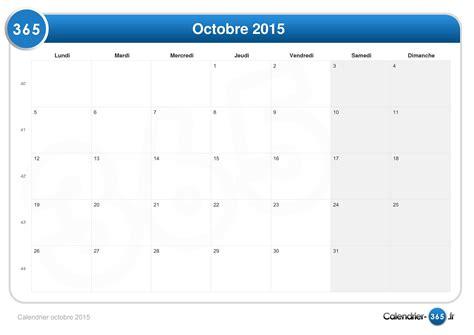I Calendrier Octobre 2015 Calendrier Octobre 2015