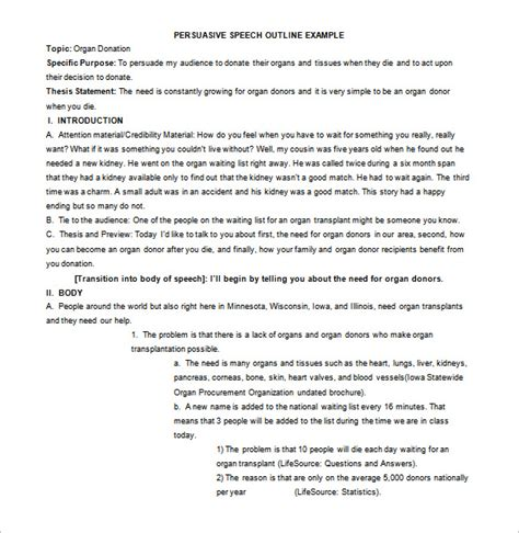 Persuasive Speech Outline Template by 7 Persuasive Speech Outline Template Doc Pdf Free