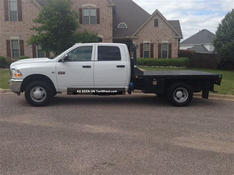 flat bed 2011 dodge 3500 crew cab 6 7l cummins diesel cm trailers