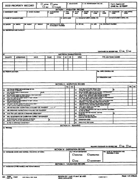 History Of A Property Is Record Figure 1 11 Dod Property Record Dd Form 1342